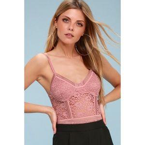 Mauve Pink Lace Bodysuit